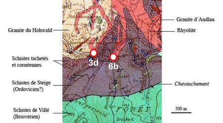 Extrait de la carte géologique de Sélestat au 1/50000, montrant le contact (3d) entre la granodiorite du Hohwald et les schistes de Steige