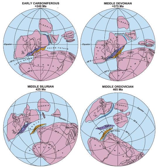 Cartes paléogéographiques de l'Ordovicien au Carbonifère