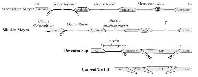 Modèle d'évolution de la chaine varisque pendant le Paléozoïque