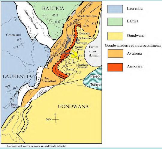 Position des chaines calédonienne et varisque et des continents amalgamés à la fin du Paléozoïque