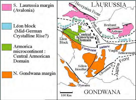 Position des Vosges par rapport aux quatre domaines lithotectoniques de la chaine varisque
