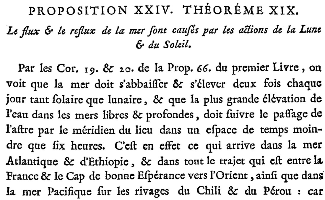 Extrait du texte de Newton, tiré de la seule traduction française de l'ouvrage, par Mme la Marquise du Châtelet, 1759
