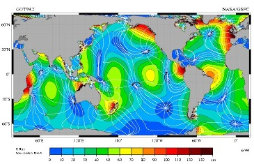 La marée océanique semi-diurne M2