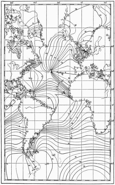Carte de R.A. Harris avec points amphidromiques