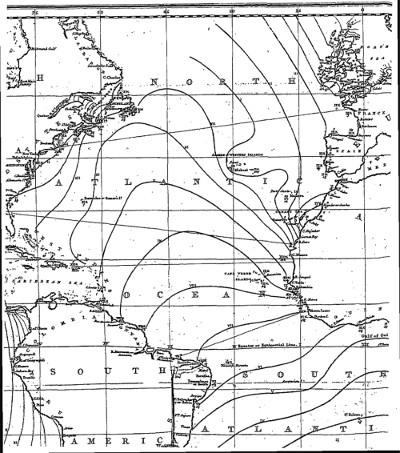 Lignes cotidales sur une carte W. Whewell