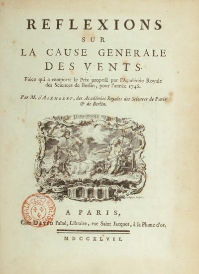 """Les """"Réflexions sur la cause générale des vents"""" de D'Alembert (1747)"""