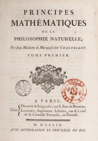 """Les """"Principes mathématiques de la philosophie naturelle"""" de Newton (1759, traduction française)"""