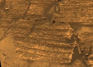 Vue rapprochée des strates de Burns Cliff