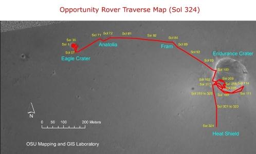 Carte du trajet d'Opportunity depuis son atterrissage, jusqu'au bouclier thermique atteint à la fin du mois de décembre 2004
