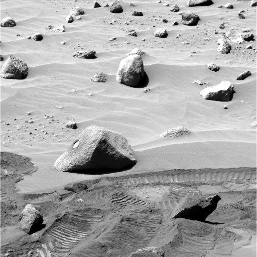 Le rocher Wishstone avec sa trace de forage