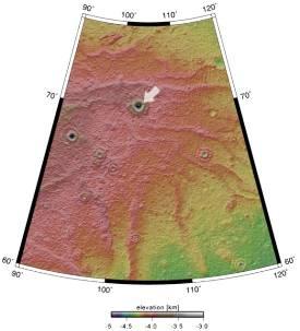 Localisation du cratère sans nom observé par Mars Express près du pôle Nord de Mars