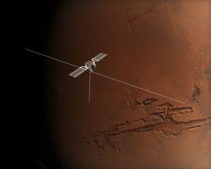 Dessin d'artiste montrant Mars Express et ses 3 antennes déployées