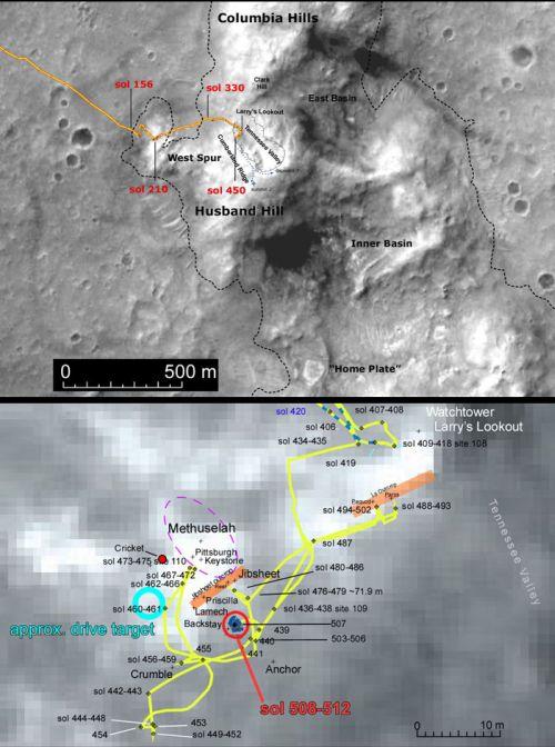 Localisation géographique de Spirit, sols 440 à 520