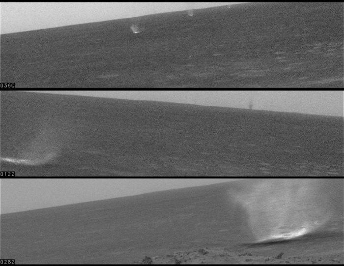 Tornades martiennes observées par Spirit (images publiées le 6 mai 2005)