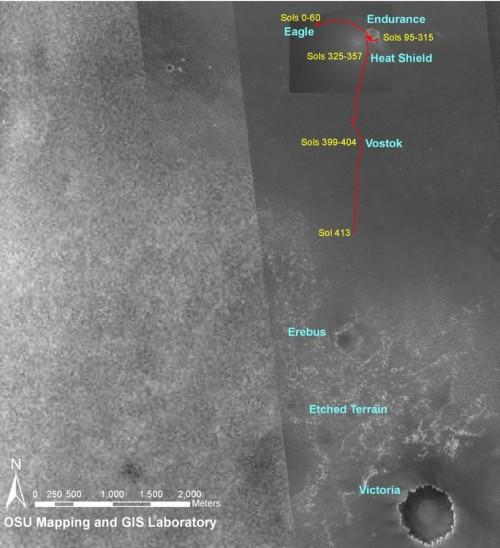 Trajet d'Opportunity jusqu'au sol 413 (fin mars début avril 2005)