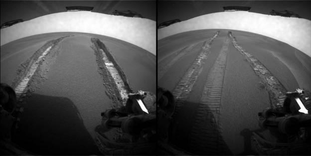 Vue de la trace d'enlisement prises pendant la marche arrière les 10 (à gauche) et 11 juin (à droite)