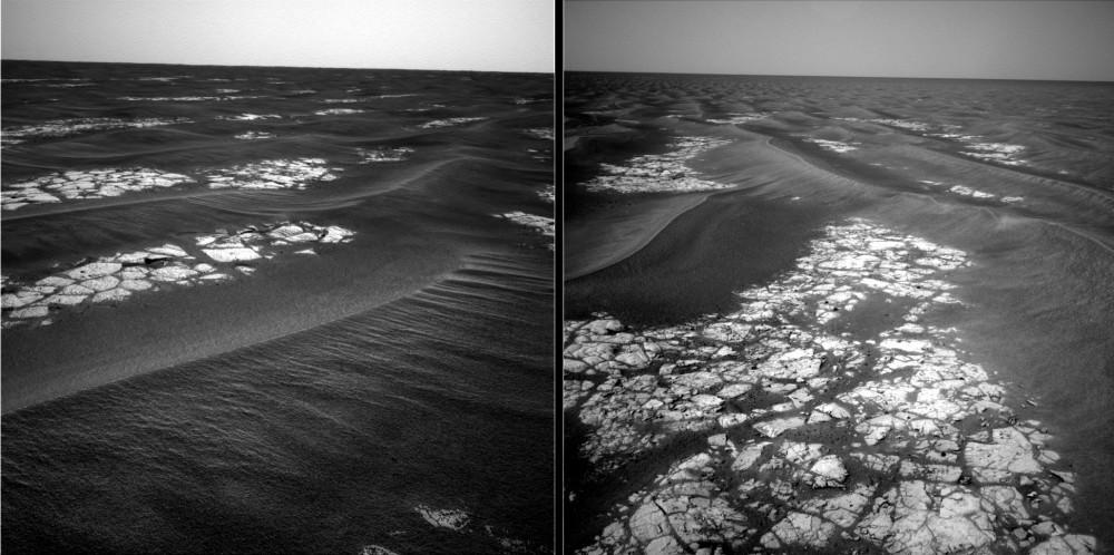 Transition entre les champs de dunes et les etched terrains