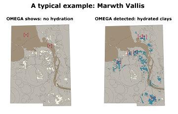 Carte des affleurements d'argiles de la région de Marwth Vallis (25°N 340°E)