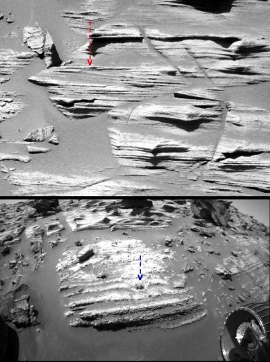Montage de 2 images rapprochées mettant en évidence la différence entre les strates supérieures et inférieures