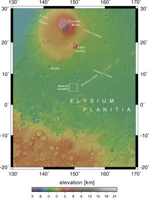 Localisation du paléo-lac gelé, Mars