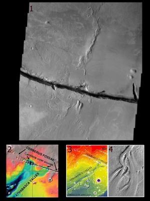 """Les """"sources"""" et le lit d'Athabasca Valles, Mars"""