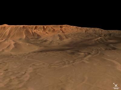 Tithonium Chasma, et Ius Chasma, dans Valles Marineris, Mars