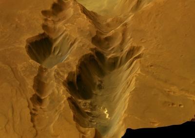 Vue oblique de Coprates Catena (Mars) en regardant vers l'Est