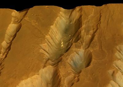 Vue oblique de Coprates Catena (Mars) en regardant vers l'Ouest