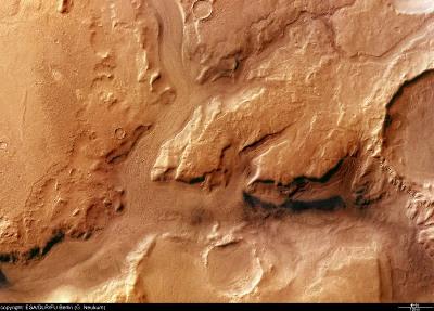 Vue verticale de Reull Vallis, Mars