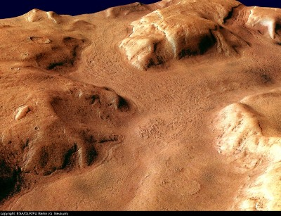 Vue oblique vers le SE de Reull Vallis, Mars