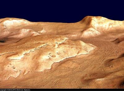 Vue oblique vers l'O de Reull Vallis, Mars