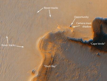 HIRISE observe Opportunity au bord du cratère Victoria