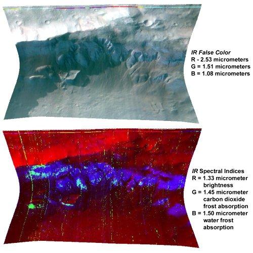 Image fausse couleur (en haut) et composition des glaces (en bas) sur un relief de Mars