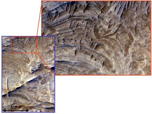 Pseudo dykes martiens dans la région de Candor Chasma, Valles Marineris