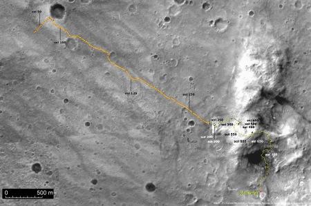 Février 2006, position de Spirit, et trajet depuis son arrivée sur Mars 850 sols plus tôt