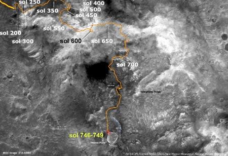 Février 2006, position de Spirit au pied de Home Plate, trajet de 2 ans dans les Columbia Hills