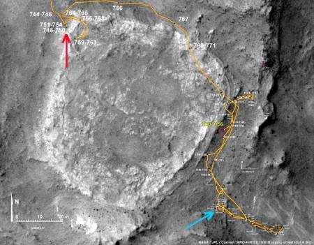 Vue haute résolution de Home Plate et du trajet (sols 744 à 1146) du rover Spirit