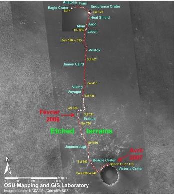 Carte du trajet d'Opportunity sur Mars, jusqu'en avril 2007