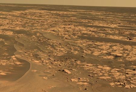 Vue général des etched terrains, Mars