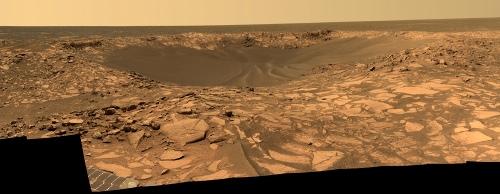 Vue du petit cratère Beagle au sein des etched terrains