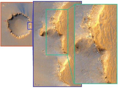 Pseudo-dykes sur le bord Est du cratère Victoria (D=800m)
