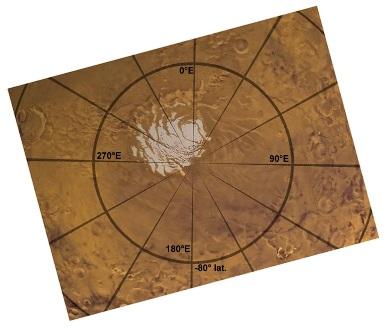 """Carte """"usuelle"""" du pôle Sud de Mars"""