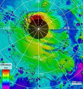 Carte topographique du pôle Sud de Mars