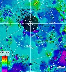 Carte topographique du substratum des terrains polaires Sud de Mars