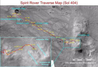 Carte du trajet de Sprit le sol 404 (20 février 2005)