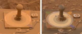 La mire colorée de Spirit (diamètre de 8cm), le 5 mars 2005 (à gauche) et le 15 mars (à droite)