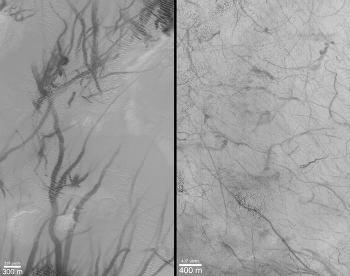 Traces sombres (traces de tornades) dans Argyre Planitia (à gauche) et Promethei Terra (à droite)