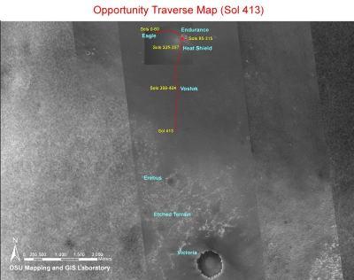 Trajet et objectif d'Opportunity (état du 23 mars)