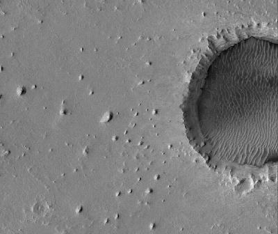 Vue orbitale détaillée de Meridiani Planum, 150km à l'Ouest du site d'atterrissage d'Opportunity