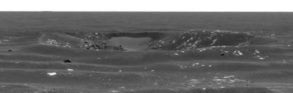 Gros plan sur une dépression proche du cratère martien Naturaliste